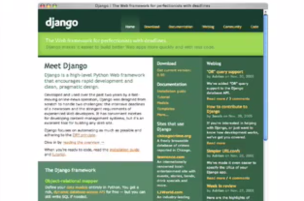Screen capture image from Djangoproject.com as it was in 2005